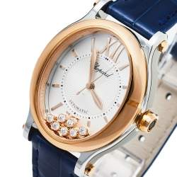 Chopard Silver 18K Rose Gold and Stainless Steel Happy Sport 8602 Women's Wristwatch 29mm X 31mm