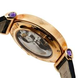 Chopard Silver 18K Rose Gold and Leather Imperiale 4211 Women's Wristwatch 40mm