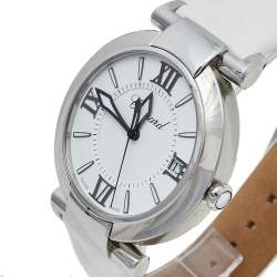 Chopard White Stainless Steel and Leather Imperiale 8531 Women's Wristwatch 40mm