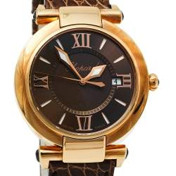 Chopard Brown 18K Rose Gold and Leather Imperiale 4221 Women's Wristwatch 36mm
