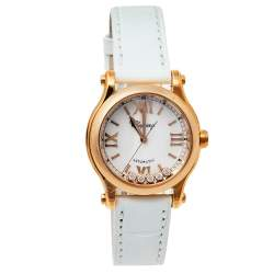 Chopard Mother of Pearl 18K Rose Gold and Leather Happy Sport 4893 Women's Wristwatch 30mm
