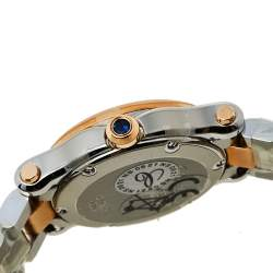 Chopard White 18K Rose Gold and Stainless Steel Happy Sport 8590 Women's Wristwatch 30mm