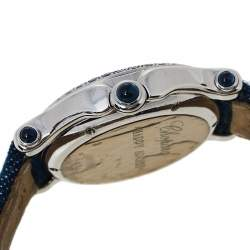 Chopard White 18K White Gold Sapphire & Diamond Happy Sport S27/6177-23 Women's Wristwatch 33 mm