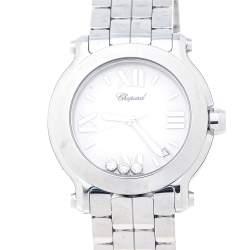 Chopard White Stainless Steel Happy Sport 8475 Women's Wristwatch 36 mm