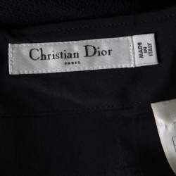 Christian Dior Black Textured Wool High Waist Pencil Skirt S