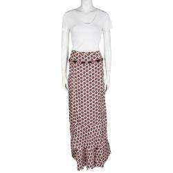 Christian Lacroix Multicolor Printed Silk Ruffle Detail Maxi Skirt L