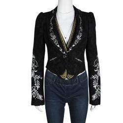 Christian Lacroix Black Floral Embroidered Vest Detail Velvet Blazer S