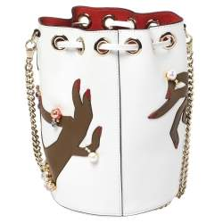 Christian Louboutin White Leather Jewel Embellished Marie Jane Drawstring Bucket Bag