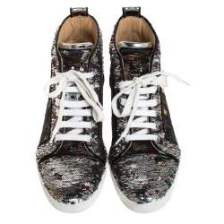 Christian Louboutin Silver Sequin Orlato High Top Sneakers Size 38