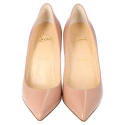 Christian Louboutin Nude Patent Leather Pigalle Pointed Toe Pumps Size 37