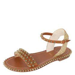 Christian Louboutin Beige Cordorella Spiked Flat Leather Sandals Size 37