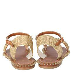 Christian Louboutin Beige Cordorella Spiked Flat Leather Sandals Size 38