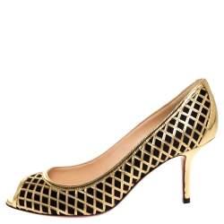 Christian Louboutin Gold Cutout Leather And Black Satin Peep Toe Pumps Size 37
