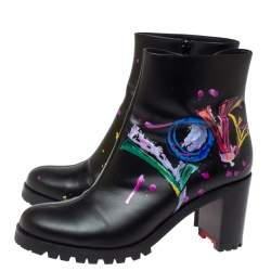 Christian Louboutin Black Love Print Leather Ankle Boots Size 39.5