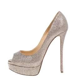 Christian Louboutin Silver Shimmery Fabric Lady Peep Toe Platform Pumps Size 39.5