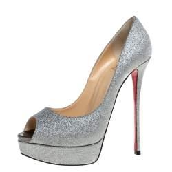 Christian Louboutin Silver Glitter Lady Peep Platform Pumps Size 40