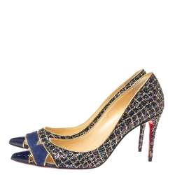 Christian Louboutin Blue Glitter Cut Out Pointed Toe Pumps Size 39