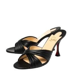 Christian Louboutin Black Leather Nicol Slide Sandals Size 38