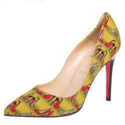 Christian Louboutin Yellow Canvas Pigalle Pumps Size 41