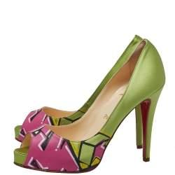 Christian Louboutin Green/Pink Satin New Prive Peep Toe Pumps Size 39
