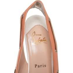 Christian Louboutin Beige Leather Jefferson Plato Slingback Sandals Size 38.5