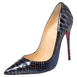 Christian Louboutin Blue/Silver Python Leather So Kate Pumps Size 37.5