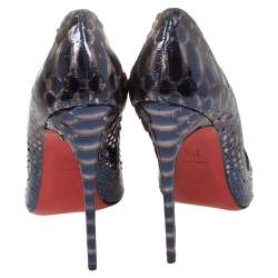 Christian Louboutin Blue/Silver Python Leather So Kate Pumps Size 37.5