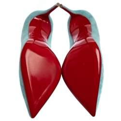 Christian Louboutin Blue Suede Pigalle Follies Pumps Size 38.5
