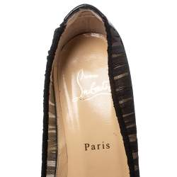 Christian Louboutin Black Fabric And Leather Angelique Pumps Size 37.5