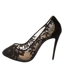 Christian Louboutin Black Lace And Suede Pigalace Pointed Toe Pumps Size 38.5