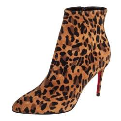 Christian Louboutin Brown Leopard Print Suede Eloise 85 Boots Size 36