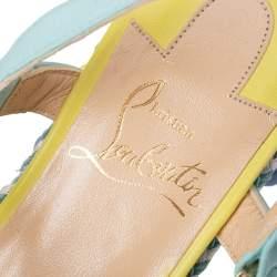 Christian Louboutin Multicolor Leather Cataconico Platform Espadrille Sandals Size 35