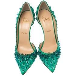 Christian Louboutin Green Satin Brodiriza Embellished D'orsay Pumps Size 39