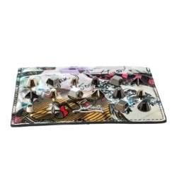Christian Louboutin Multicolor Trash Print Patent Leather Kios Spiked Card Holder