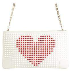 Christian Louboutin White Leather Loubiposh Studded Clutch