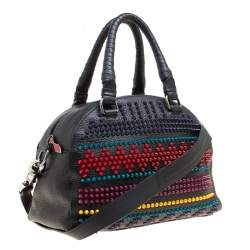 Christian Louboutin Black/Multicolor Leather Spike Studded Bowler Bag