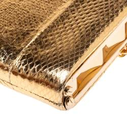 Christian Louboutin Gold Python Embossed Leather Charity Chain Clutch