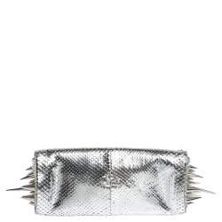 Christian Louboutin Metallic Silver Snakeskin Effect Leather Marquise Spiked Clutch