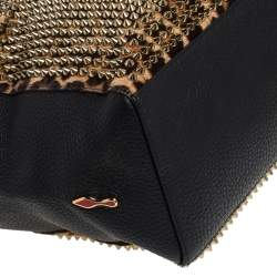 Christian Louboutin Black/Brown Leopard Print Calfhair and Leather Spike Panettone Tote