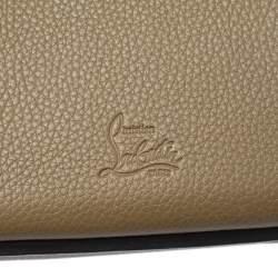 Christian Louboutin Khaki Green Leather and Dune Afridiam Fabric Small Eloise Satchel