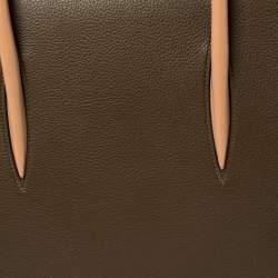 Christian Louboutin Khaki Green/Red Leather Paloma Tote