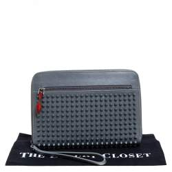 Christian Louboutin Grey Leather Spike Zip Wristlet Clutch