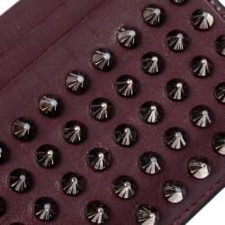 Christian Louboutin Maroon Leather Kios Rockstud Card Holder
