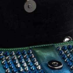 Christian Louboutin Metallic Blue/Green Patent Leather Mini Spiked Sweet Charity Crossbody Bag