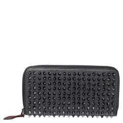 Christian Louboutin Grey Leather Panettone Spikes Zip Around Wallet