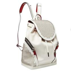 Christian Louboutin White/Red Leather and Rubber Explorafunk Backpack