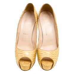 Christian Louboutin Metallic Gold Python Leather Altadama Peep Toe Pumps Size 40