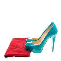Christian Louboutin Green Patent Leather Bianca Platform Pumps Size 37.5