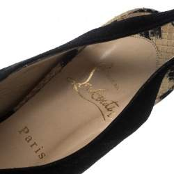 Christian Louboutin Beige Animal Print Python and Black Suede Stringita Platform Slingback Sandals Size 38