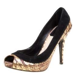 حذاء كعب عالي ديور مقدمة مفتوحة جلد نقش ثعبان وسويدي ذهبي/ أسود مقاس 35.5
